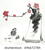 chinese painting of flowers ... | Shutterstock . vector #696672784