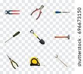 realistic forceps  chisel ... | Shutterstock .eps vector #696673150