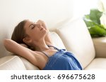 beautiful young woman slumbers... | Shutterstock . vector #696675628
