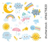 cute weather set. emotional... | Shutterstock .eps vector #696675820