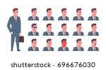 male smiling emotion icons set... | Shutterstock .eps vector #696676030