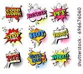 comic speech chat bubble set... | Shutterstock .eps vector #696676060