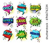 comic speech chat bubble set... | Shutterstock .eps vector #696676234