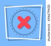 x icon cross decline button... | Shutterstock .eps vector #696679420