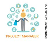 project manager icon business... | Shutterstock .eps vector #696680170