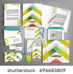 striped corporate identity... | Shutterstock .eps vector #696683809