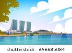 singapore city view skyscraper...   Shutterstock .eps vector #696685084