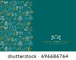 merry christmas and happy new... | Shutterstock .eps vector #696686764