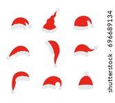 santa christmas hat vector... | Shutterstock .eps vector #696689134