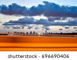 sunset at abidjan. view from... | Shutterstock . vector #696690406