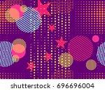 memphis seamless pattern. pop... | Shutterstock .eps vector #696696004