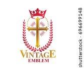 christian cross golden emblem... | Shutterstock . vector #696699148