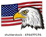 large flag of america with head ...   Shutterstock . vector #696699196