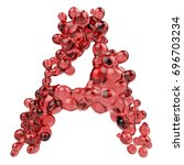 a letter made of bubbly red... | Shutterstock . vector #696703234