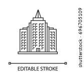 skyscraper linear icon. premium ... | Shutterstock .eps vector #696705109