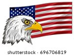 head of eagle on the national... | Shutterstock . vector #696706819