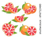 red grapefruits with leaves.... | Shutterstock .eps vector #696712480