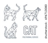 low poly logo icon cat pet... | Shutterstock .eps vector #696713080
