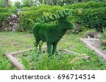 figure of deer made of green... | Shutterstock . vector #696714514