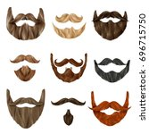 set of realistic beards and... | Shutterstock .eps vector #696715750