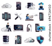 colored 3d datacenter hosting... | Shutterstock .eps vector #696716410