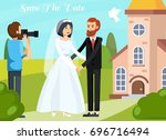 colored flat wedding people... | Shutterstock .eps vector #696716494