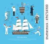 old fashioned multi masted... | Shutterstock .eps vector #696716500