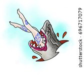 stylized shark. tattoo design.... | Shutterstock . vector #696717079