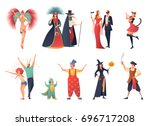 carnival party icons set with... | Shutterstock .eps vector #696717208