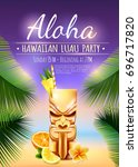 hawaiian luau party poster with ... | Shutterstock .eps vector #696717820