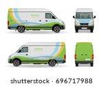 realistic cargo van advertising ... | Shutterstock .eps vector #696717988