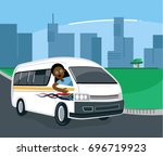 south african taxi driver in... | Shutterstock .eps vector #696719923