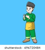 cute boy islamic vector drawn | Shutterstock .eps vector #696720484