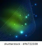 3d illuminated wave of glowing... | Shutterstock .eps vector #696722338