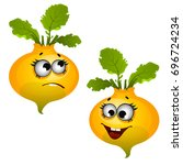 the laughing ripe turnip. funny ... | Shutterstock .eps vector #696724234