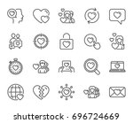 love line icons. couple ... | Shutterstock .eps vector #696724669