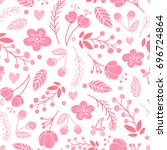 beautiful floral seamless... | Shutterstock .eps vector #696724864
