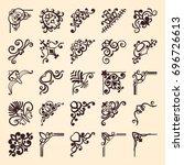vintage ornamental corner...   Shutterstock .eps vector #696726613