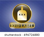 gold badge with bottle of... | Shutterstock .eps vector #696726880