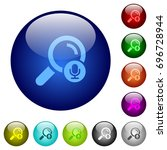 voice search icons on round... | Shutterstock .eps vector #696728944