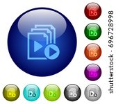 start playlist icons on round... | Shutterstock .eps vector #696728998