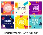 memphis style 6 cards set with... | Shutterstock .eps vector #696731584