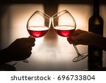 cheers and celibration  couple... | Shutterstock . vector #696733804