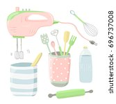 cute vector illustration with... | Shutterstock .eps vector #696737008