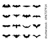 set of bat silhouette flat icon ... | Shutterstock .eps vector #696737914