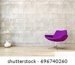 modern bright living room ... | Shutterstock . vector #696740260