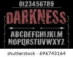 vintage font alphabet... | Shutterstock .eps vector #696743164
