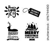 merry christmas text quote set  ... | Shutterstock .eps vector #696744400