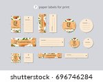 vector paper clothing labels... | Shutterstock .eps vector #696746284