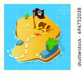 treasure map for game. treasure ... | Shutterstock .eps vector #696752038